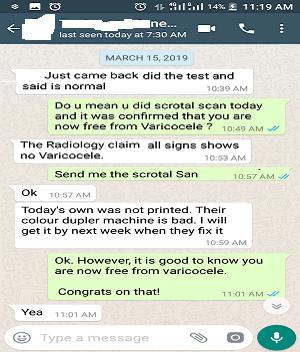 Varicocele Testimony